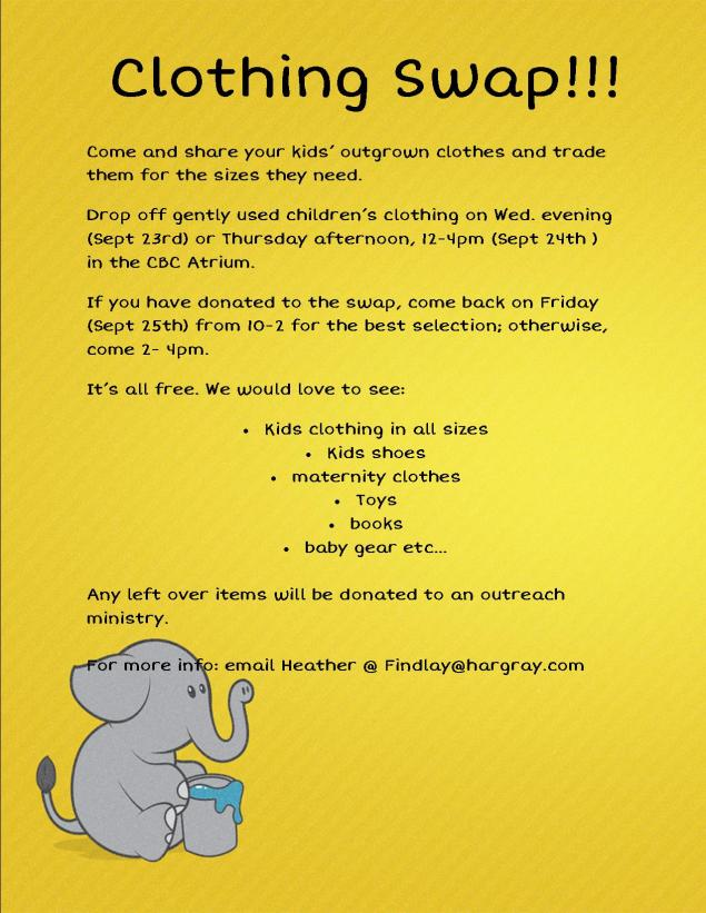 clothing swap Sept 2015