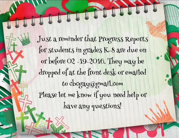 progress reports due blog post 02192016